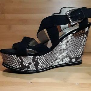 Michael Kors Black Leather Snakeskin Sandal Wedge